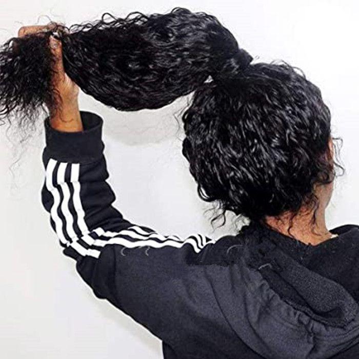 Kadınlar Öncesi Mızraplı Satine Kıvırcık Brezilyalı Virgin İnsan Saç Dantel Peruk% 150 Yoğunluk Doğal Renk Bebek Saçlı 360 Dantel Frontal Peruk