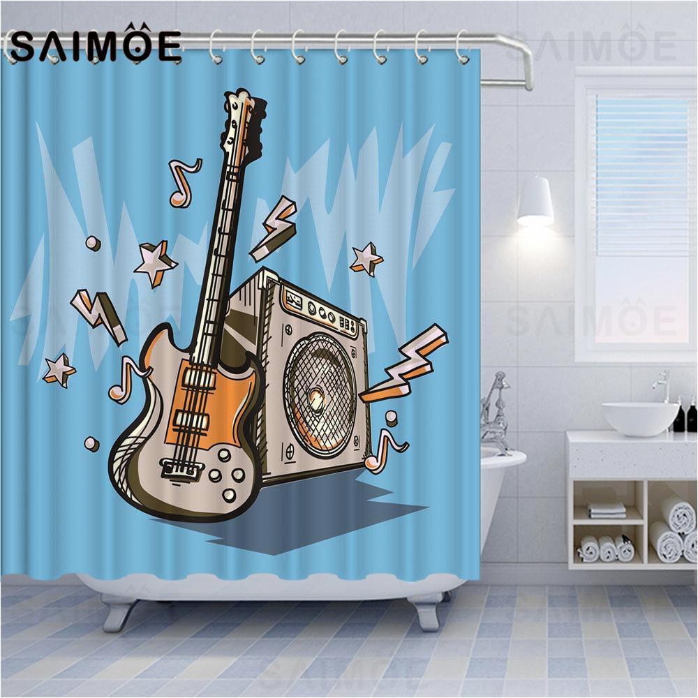 VIXMHOME Rockmusik Duschvorhang wasserdicht Polyester Badezimmer-Vorhang Gitarre Punk Art-Druck Home Decor Bad Gardinen mit Haken