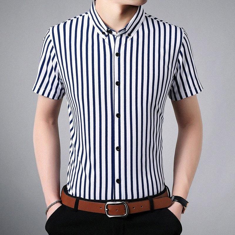 Ymwmhu полосатых Мужская рубашка хлопок Мода лето Топы с коротким рукавом Slim Fit Shirt Men Casual Male Одежда Уличная Tops Марка owOP #