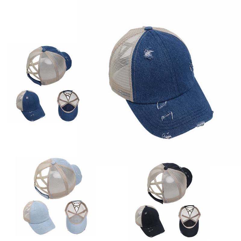 Estate Donna Coda di cavallo Berretto da baseball unisex di estate cappello della visiera esterna Hip Hop regolabile Cotone Mesh Messy Cappelli IIA304