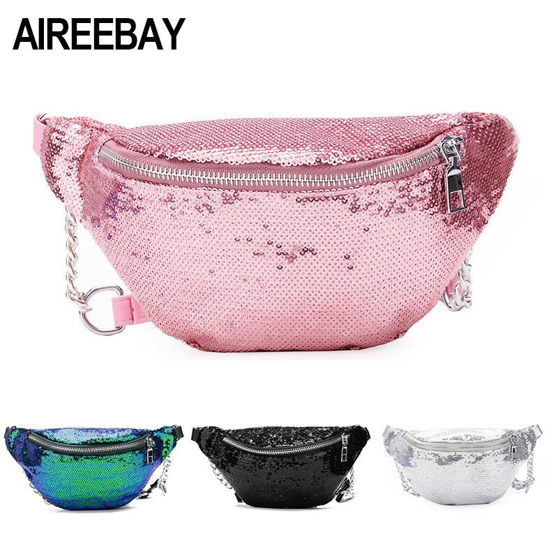 mujeres del diseñador bag lentejuelas riñonera de manera femenino de la cintura del nuevo pecho bolsa de hombro bolsa de brillo Bum Cinturones de diseño paquetes de bolsa de la cintura
