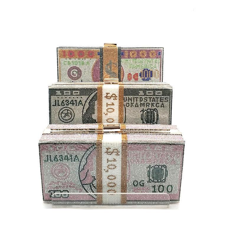 komik para çanta çanta kristal çapraz vücut nakit dolarlık banknot torbanın ÜCRETSİZ KARGO ABD kadınlar akşam parti yığını