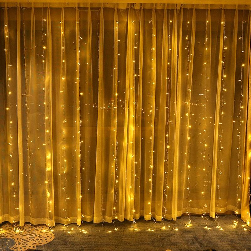 3X3m 300 LED Lamp Ornaments Curtain New Year Lights Christmas Decorations For Home Party Wedding Home Decor Christmas Decoration Home J4WO#