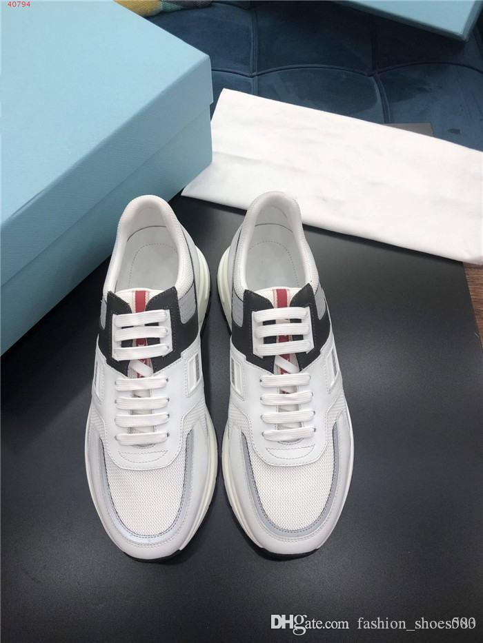 Latest Multi material panel color matching sports casual mens shoes, Low Top Mens Thick bottom Sneakers With original box size 38-44