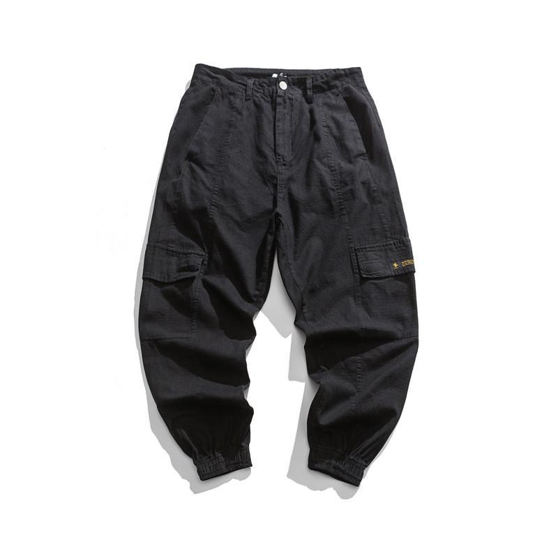 Men Multi Pocket Cargo Pants Safari Style Loose Casual Letter Harem Pants Male Japan Streetwear Hip Hop Trouser Jogger Sweatpant