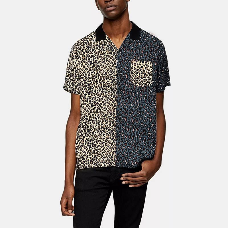 2020 الصيف الرجال عادية قصيرة الأكمام طية صدر السترة قميص مطبوعة أزياء ليوبارد المرقعة قمصان تنفس شيك Camisa هومبر قميص