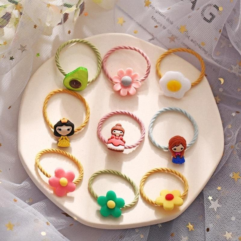 Nette koreanische Art neue Karikatur Kinder-Haar-Ring kreativ Retro-Gummiband-Bonbon-Blumen-Haar-Seil-Baby-Haar-Zusätze Wholesa IUJp #