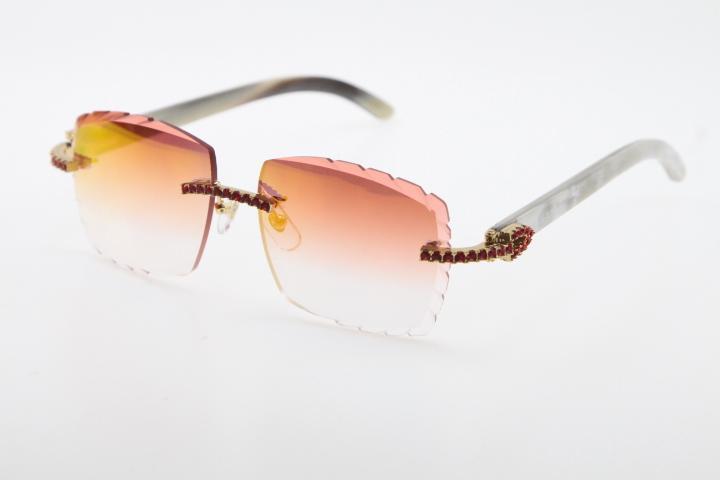 2020 Nova de venda sem aro Red Pedras Grandes Optical 3524012-A White Buffalo Chifre Genuine chifre óculos de sol de alta qualidade Esculpido lente de vidro Unisex