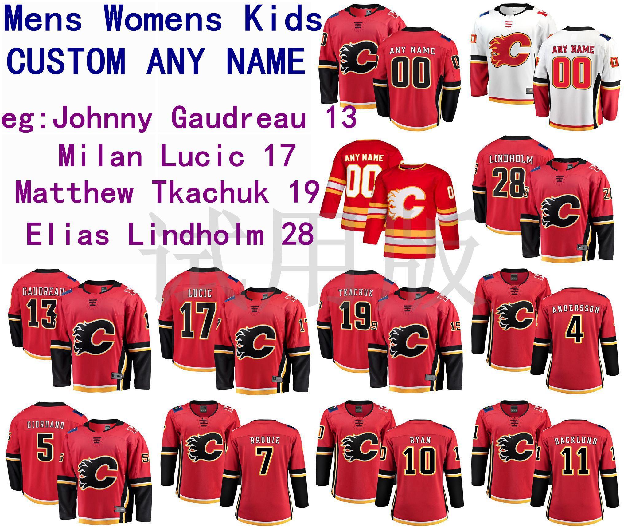 Calgary Flames Jersey Johnny Gaudiaau Jersey Milan Lucic Matthew Tkachuk Elias Lindholm Erkekler Kırmızı Beyaz Hokey Formaları Özel Dikişli