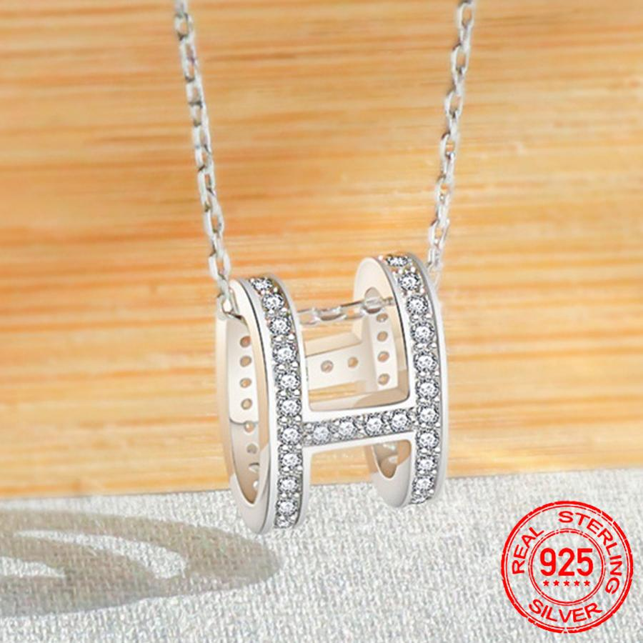 Simple Style 925 Sterling Silver Cubic Zirconia Letter H Necklaces & Pendants Silver Fashion Jewelry For Women Short Chain D108