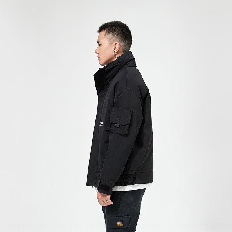 D3sGv 2019 зима новый мужской моды пальто с воротником стойка все-матч износа красивый случайные вниз вниз куртка Рабочая одежда рабочая одежда жакет