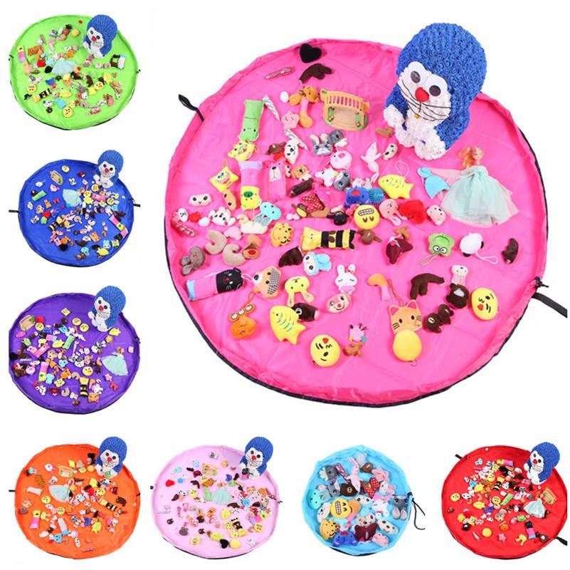 1.5m Kids Play Mat Toys Storage Bags organizer Foldable Round Playing Mat Blanket Rugs Portable Toy Boxes Waterproof Beach Pouch bag 8 Color