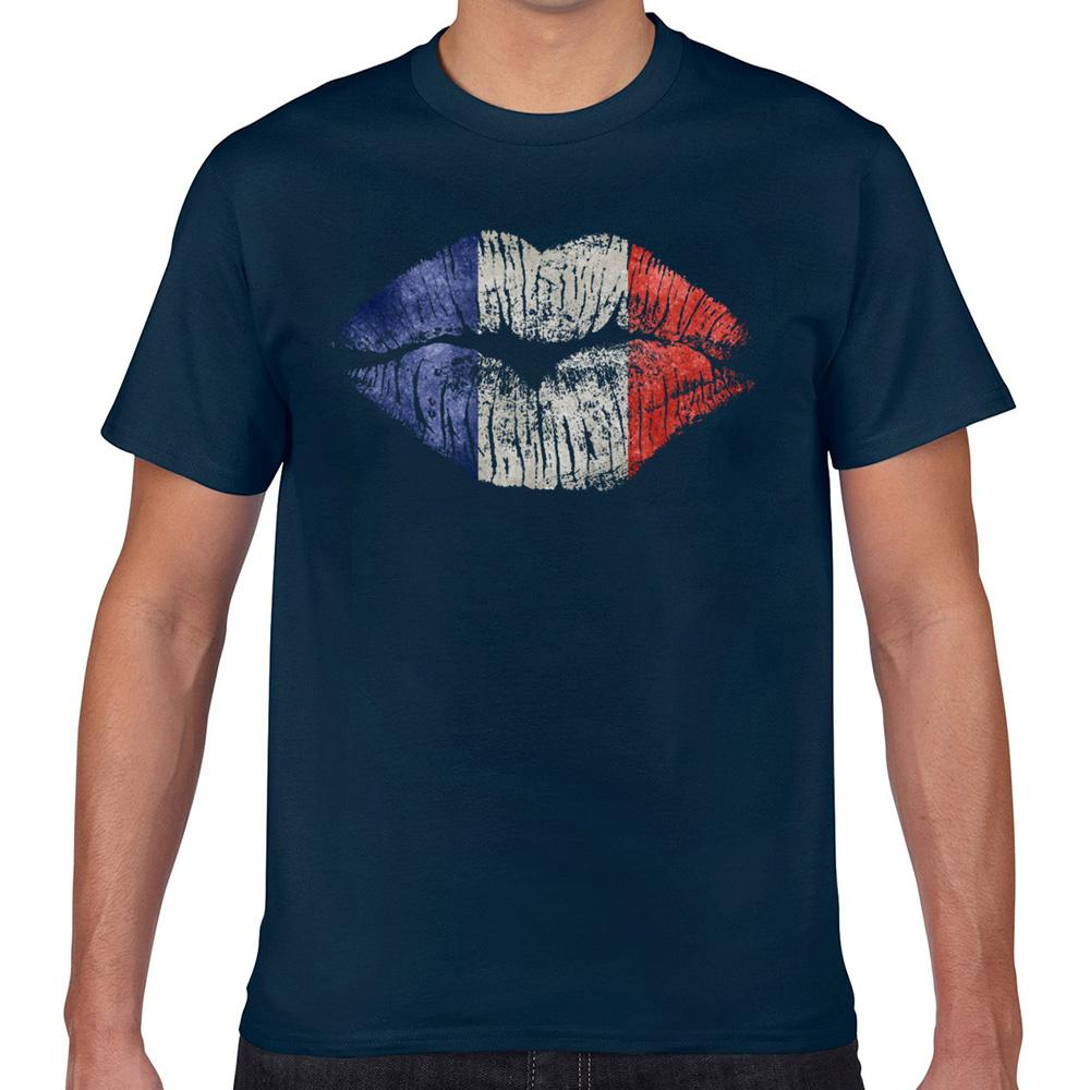 T Shirt Top Uomini francia labbra divertente Harajuku personalizzato maschile maglietta