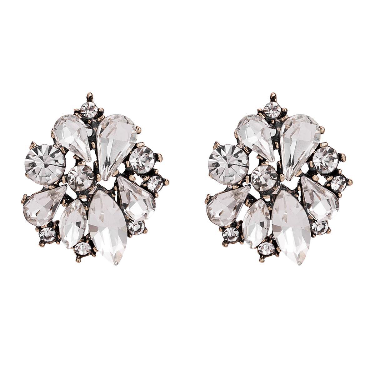 Exagerada de múltiples capas de diamantes Pendientes de flor de Bohemia