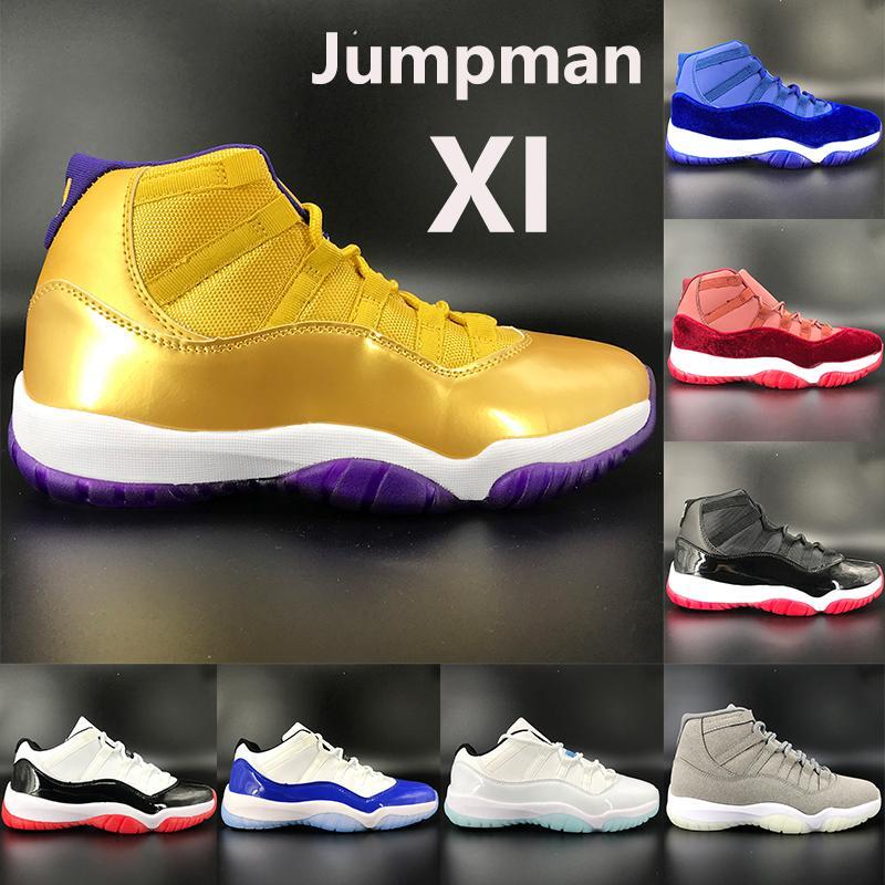 zapatillas de baloncesto XI nueva 11s 11 SE blanco bajo oro metálico criados terciopelo azul Concord heredera pináculo grises hombres jumpman mujeres las zapatillas de deporte