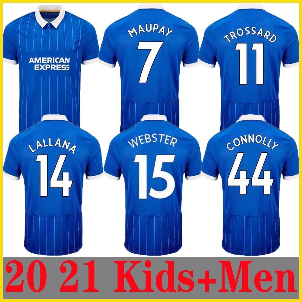 20 21 Albion Blue Men's Manga Curta Jersey 2020 21 Lallana 14 Dunk Hove Albion Maupay Connolly Trossard Black Lives Matéria Matéria + Kids Jers