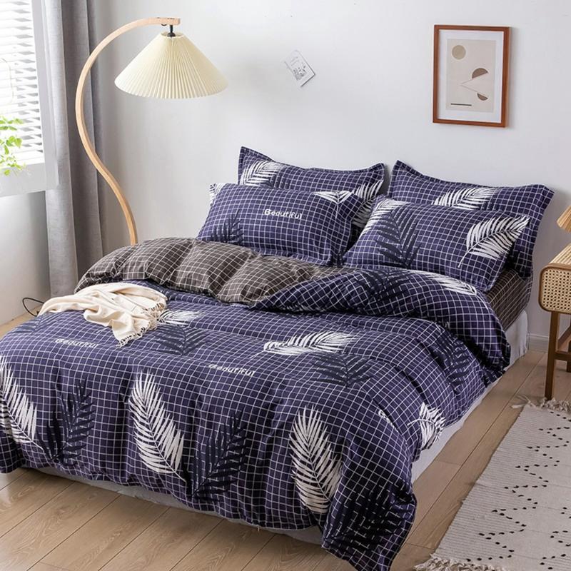 المنسوجات المنزلية الفراش مجموعات 5 الحجم الأزرق يغادر الصيف ملاءات * 3 / 4PCS غطاء لحاف تعيين الرعوية ورقة السرير AB الجانبية غطاء لحاف
