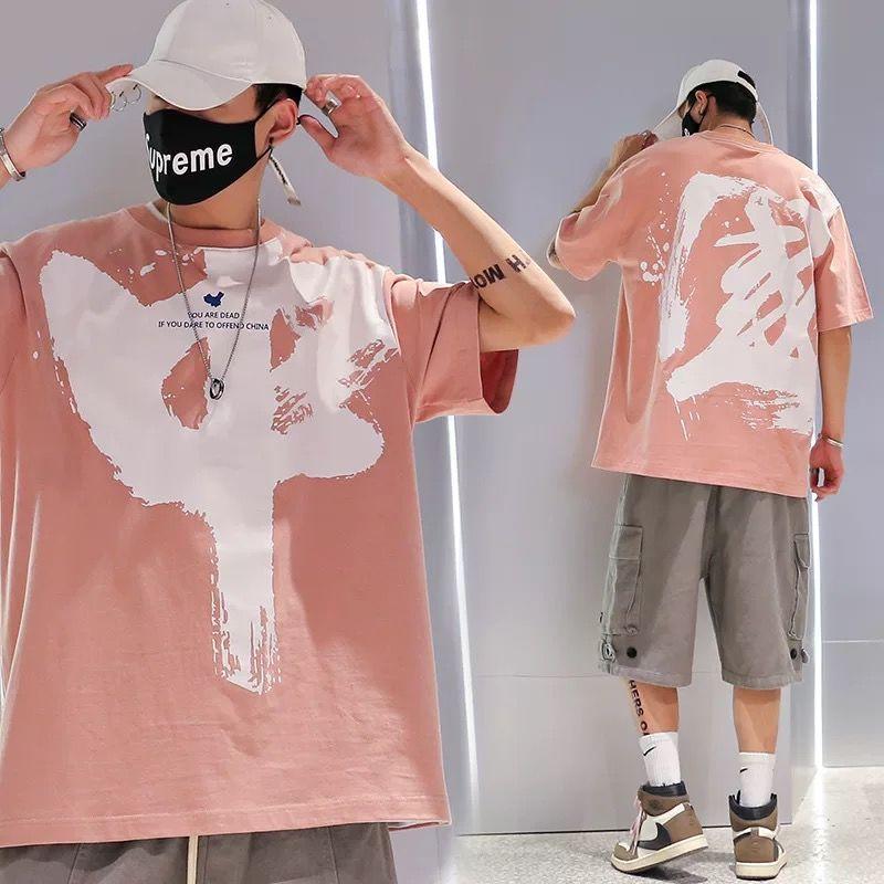 20200715 Ins лето новый короткий рукав футболки для мужчин и женщин свободный квартал Рукав универсальный сверху