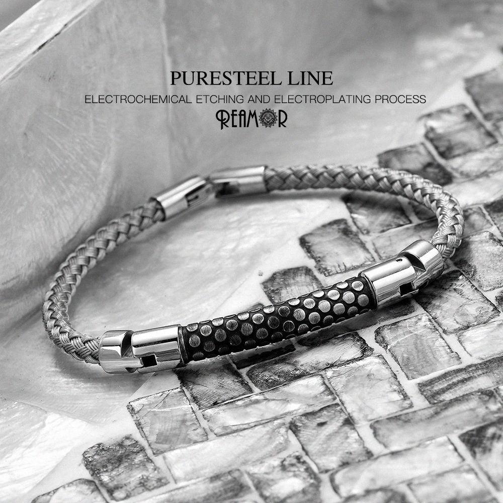 REAMOR Silber Ton CNC Struktur mechanischer Mann-Armbänder Schlangehautbeschaffenheit Edelstahl-Draht-Armband für Dazzle Kühlen Jungen ZLB3 #