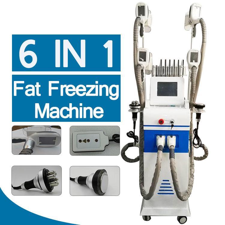 Lo nuevo manijas de adelgazamiento máquina 4 crio cuerpo congelación de grasa criolipólisis la cavitación láser lipo uso del salón de casa rf