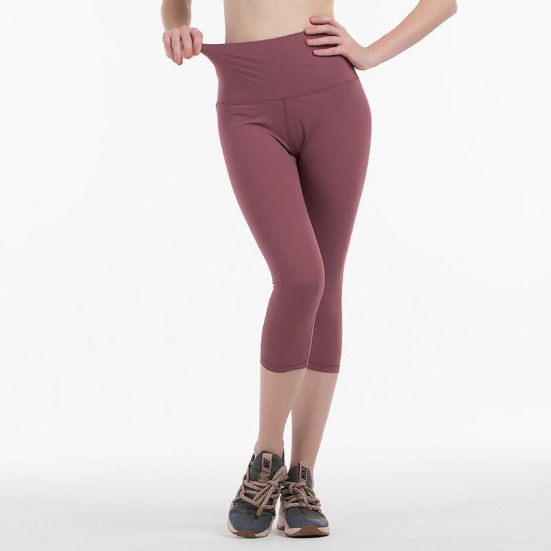 Trajes de yoga Leggings deportivos Pantalones medias de cintura altas Estástido Mujeres Fitness Gimnasio Jogging Leggins Pulse hacia arriba Correr Pantalones de entrenamiento