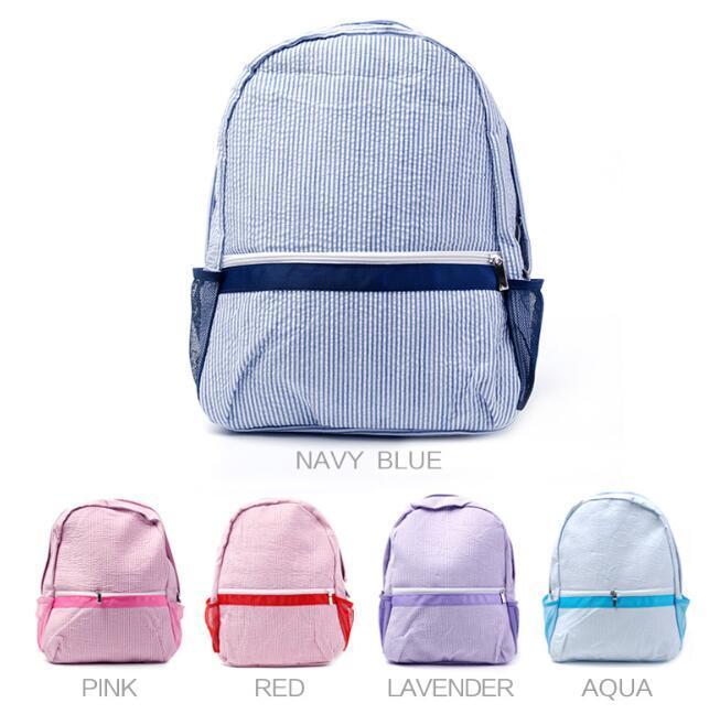 DHL50pcs Rucksack Tasche Frauen, Männer unisex Seersucker Streifen Druck Schulranzen Mix Farbe