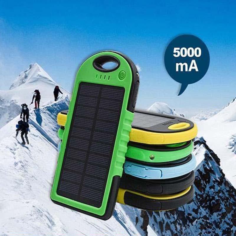 يو بي إس 5000 مللي أمبير بنك الطاقة الشمسية للماء صدمات الغبار المحمولة الطاقة الشمسية بطارية خارجية للهاتف المحمول فون