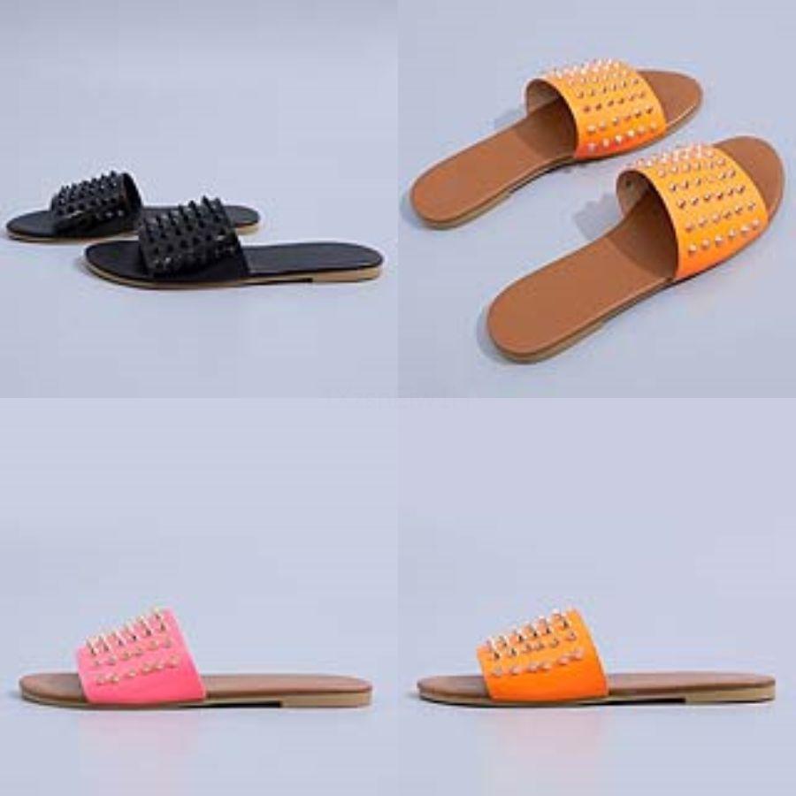 LALA Deners 2020 Summer Korean Fasion Colorful Flat Slippers Slip On Loafers Mules Flip Flops Beac Soes#765