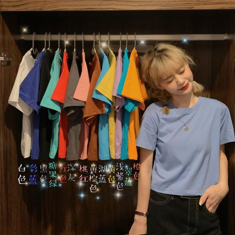 Parágrafos tornar% quantidades de algodão curto cor pura novo T-shirt de manga curta Mulher solta baseados