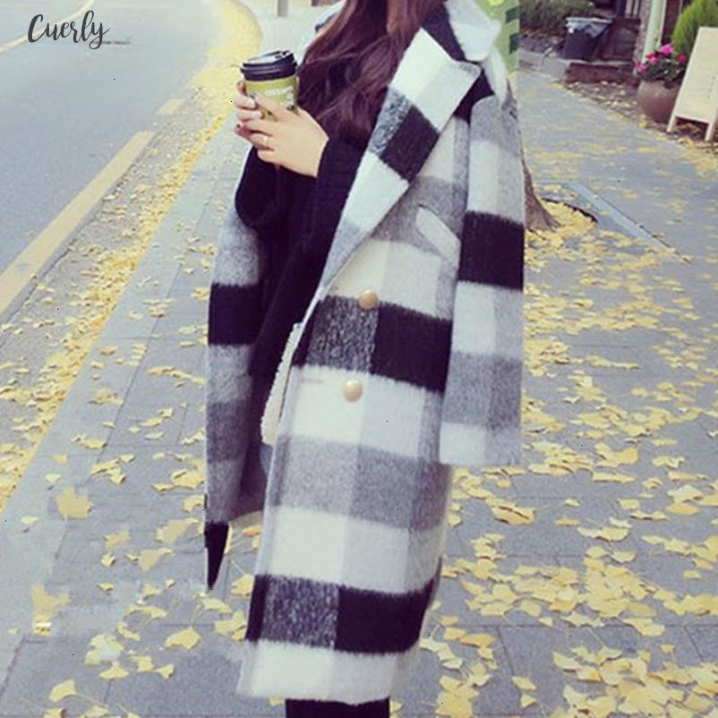 Autumn New Winter Cashmere Trench Jacket Women Casual Black White Plaid Coat Plaid Thickness Warm Button Pocket Jackets