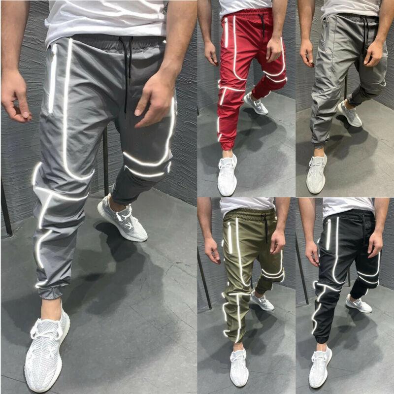 Männer Sport Run Sweat Pants Anzug Jogging Jogger Hose männlich Reflektierende Streifen elastische lose Laufhose