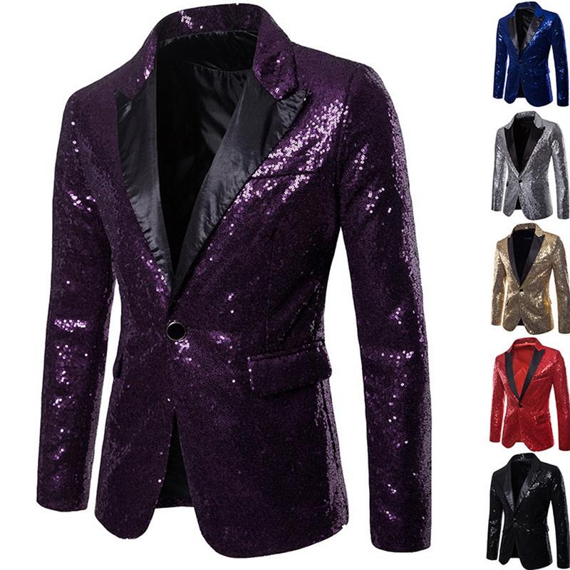 Männer Shiny Goldsequin Glitter verschönerte Blazer Jacket Men Nachtclub Blazer Hochzeit Jackett Bühne Singers Kleidung