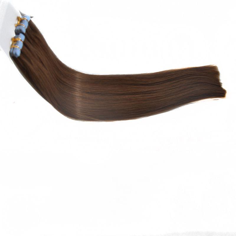 Gezeichnet Doppel Brown Farbe 8 # Band in Haarverlängerungen Glatt Braun Farbe 8 # Band in den Verlängerungen 40pcs / pack Remy Klebeband in Haarverlängerungen