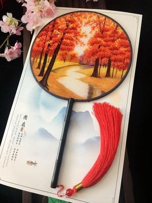 Belle a mano Suzhou ricamo artigianale Fan Doppio-lato modello cinese della seta di gelso del ventilatore di ballo Ebony decorativo Maniglia Fans regalo di mano delle signore