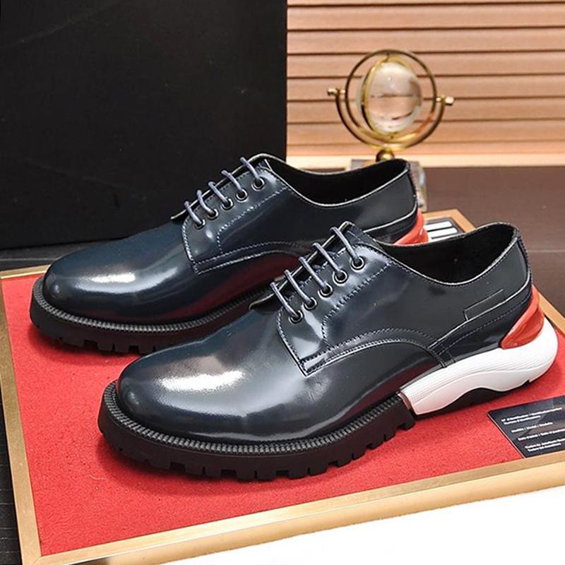 Zapatos Derby hombres cómodos '; S Zapatos de lujo Tipo de piel transpirable británica punta redonda suela gruesa de encaje hasta zapatillas de deporte Una Bi -Color Sole Sh