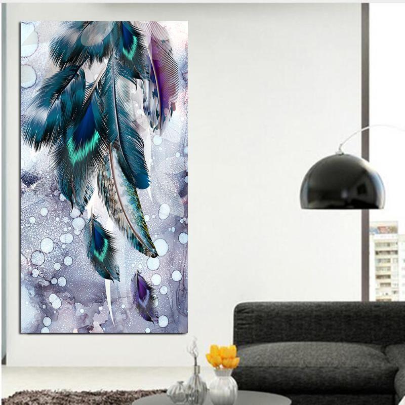 Современный декор Большой размер стены искусства картинки красочные перо печати и плакаты Аннотация холст картины для гостиной Unframed
