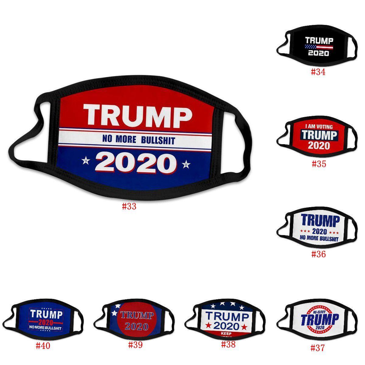 Maschera per il viso maschere Trump 40 stili anti-polvere delle donne di modo degli uomini del ghiaccio del tessuto di seta lavabili maschera Stati Uniti Bandiera maschera DHD620