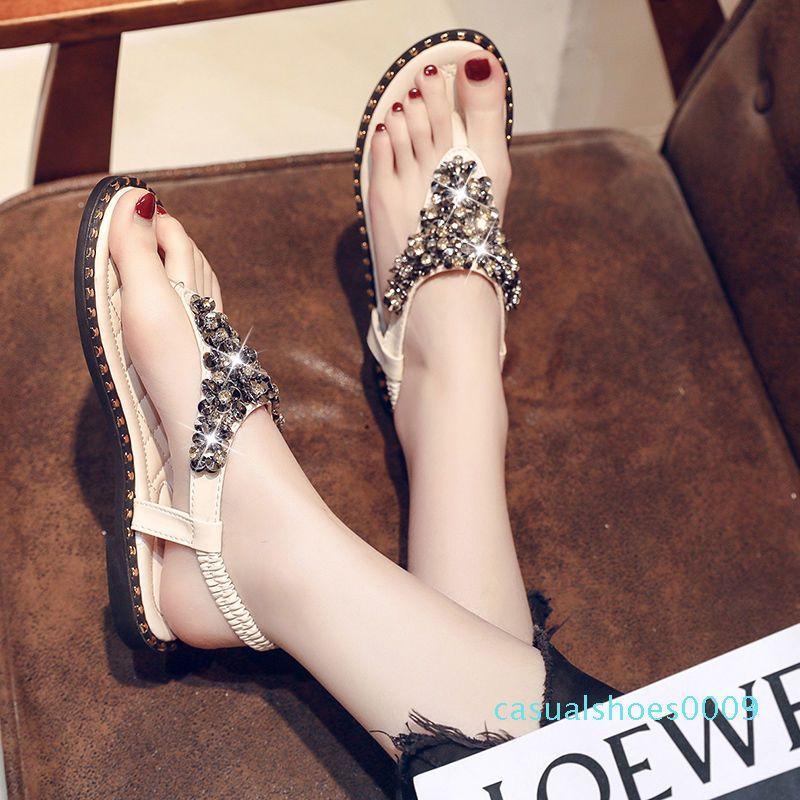 Women Summer Beach T-Strap Flat Sandals Crystal with Rhinestone Flip Flops Fashion Sparkle Herringbone Banquet Bride Sandals c09 c03