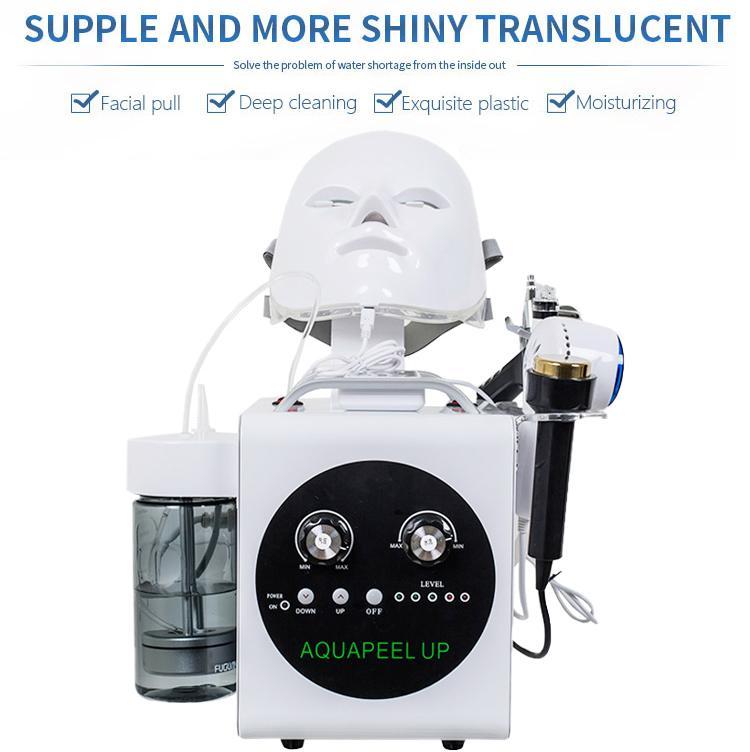La alta calidad 5 en 1 Hydradermabrasion ultrasónica RF oxígeno BIO Fría martillo spray llevó la máscara de la piel de la cara de elevación de apriete Hydra Máquina facial