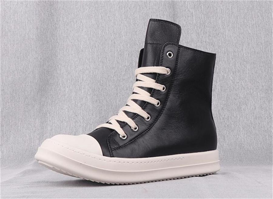 جلدية سوداء 2020 للرجال ارتفاع أعلى أحذية أحذية قصيرة السيدات الأحذية الكلاسيكية السوستة الجانبية الأحذية ذات الحجم الكبير عارضة الرجال 35-47