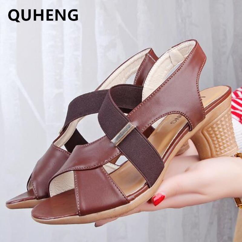 Sandales Femme d'été Confort Chaussures Femme Lumière de la femme Slip sur épais talon haut en cuir PU Femme Sandalias Ouvert Fashion Toe