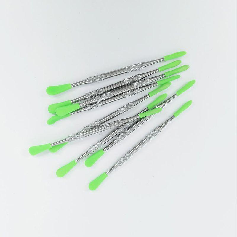 121mm Cera dabbers herramienta Dab hierba seca con aparejo de cera punta de silicona herramienta metal DAB para el vidrio enail Bong tubo de la caja de fumar de silicona