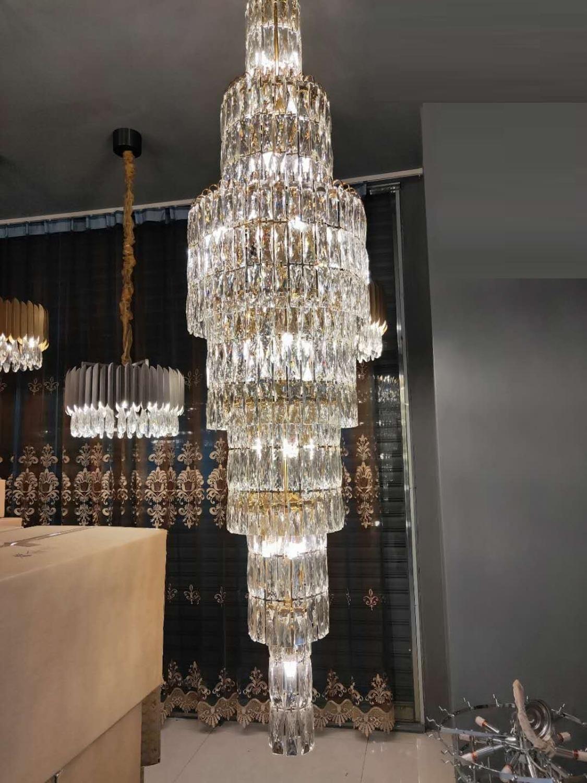 Neue Luxus-k9 Kristallleuchter lange Treppe Lampe duplex Wohnzimmer Hotellobby Dekoration Kronleuchter LED-Leuchten