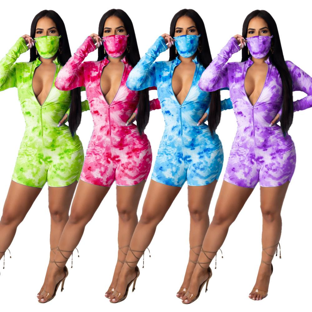 New summer women designer clothes tie dye deep V chestless jumpsuit with face mask Women Onesies Tracksuit Casual Plus Size Women Clothing