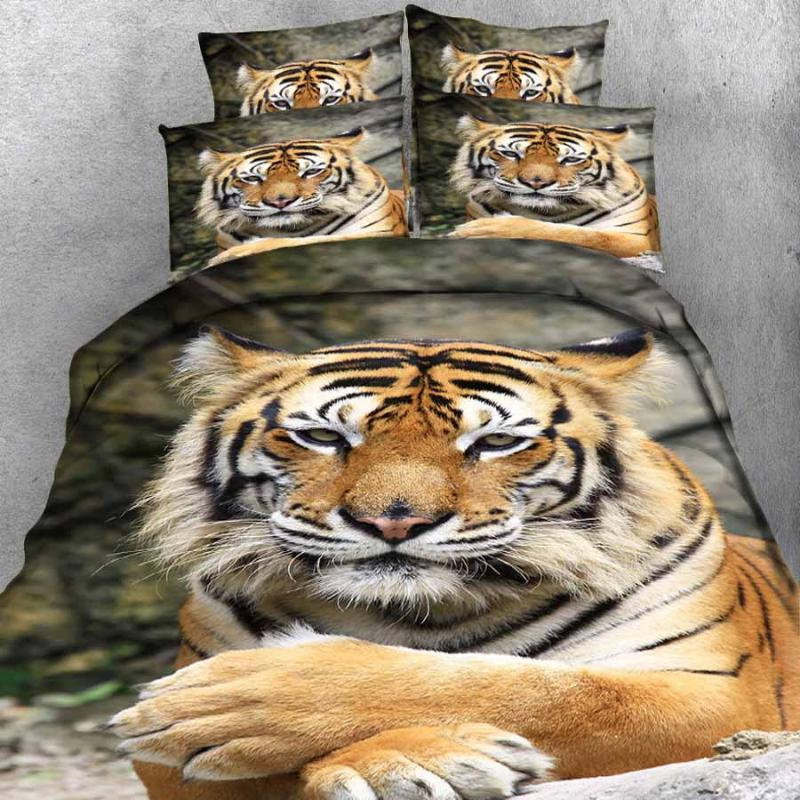 3d Bedding Sets Animal Pattern Bed Sheet Duvet Cover Pillowcase Home Textiles King Size Bedding Set Cute Tiger