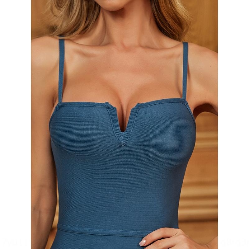 2020 evening dress new bandage dress women's evening party light mature wind sling slim hip split skirt