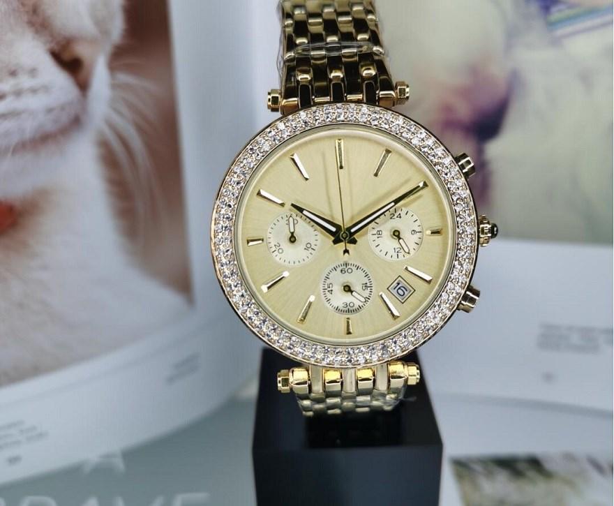 패션 숙녀 전체 기능 다이아몬드 시계 여성 디자이너 남성 크리스탈 로즈 골드 팔찌 시계 스테인레스 스틸 시계 다이얼