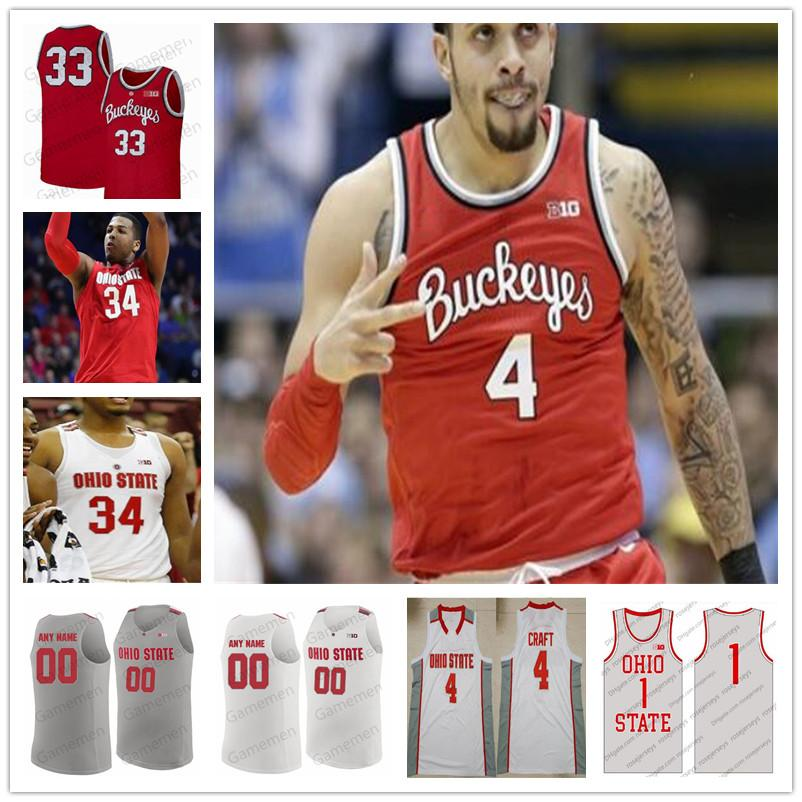 Benutzerdefinierte Ohio State Buckeyes Basketball 0 d'Angelo Russell Mike Conley Fred Taylor Gary Bradds Stitched Herren Jugendtrikots