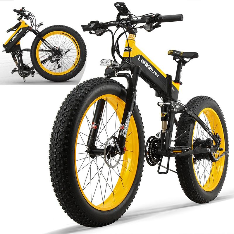 Outdoor LANKELEISI T750Plus 26x4.0 Fat Tire Elektrikli Bisiklet 48V 1000W motor 14.5Ah Lityum Batarya Samsung Hücreler E-Bike