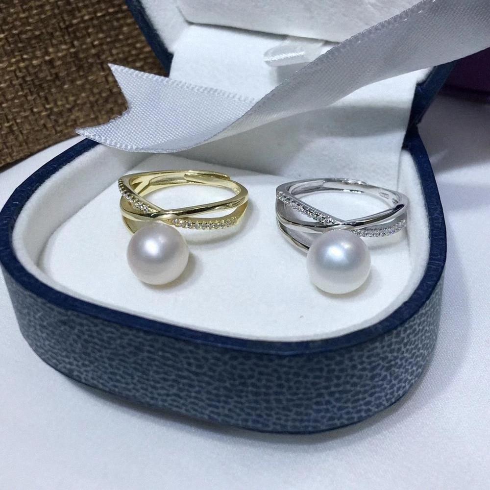 925 plata esterlina anillo de perlas 8-9mm naturales de agua dulce accesorio de la joyería de circonio de tamaño variable de compromiso anillo de regalo de lujo para las niñas UILT #